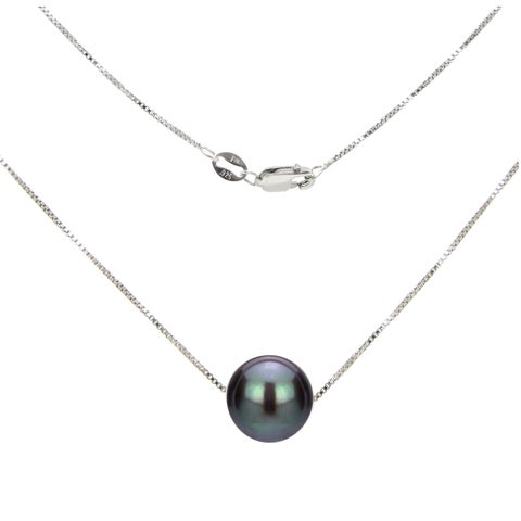 DaVonna Sterling Silver Box Chain with Black Round Freshwater Pearl Pendant Necklace (11-12mm)