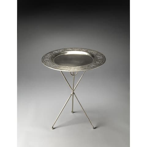 Butler Dahlia Folding Metal Accent Table with Etched Border Top