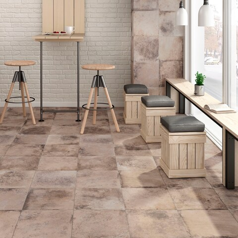 SomerTile 11.875x11.875-inch Ventila Beige Porcelain Floor and Wall Tile (12 tiles/12.26 sqft.)