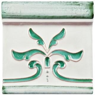 SomerTile 5.125x5.125-inch Frisia Aquamarina Ceramic Zocalo Trim Tile
