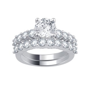 Divina 14k White Gold 3ct TDW Diamond Bridal Set