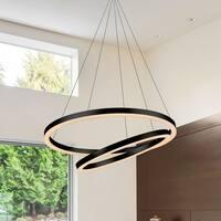 VONN Lighting VMC31740BL Tania Duo 24-inch LED Modern Circular Chandelier in Black