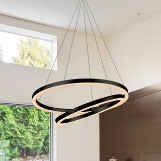 Vonn Lighting Tania Duo Black Aluminum 24-inch LED Adjustable Suspension Fixture Modern Chandelier