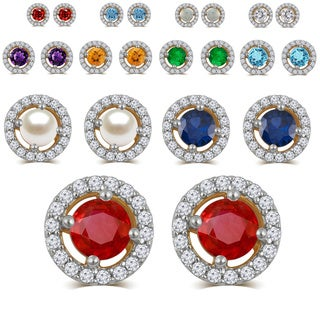 Divina 14k Gold-over-Silver Birthstone Halo Stud Earring