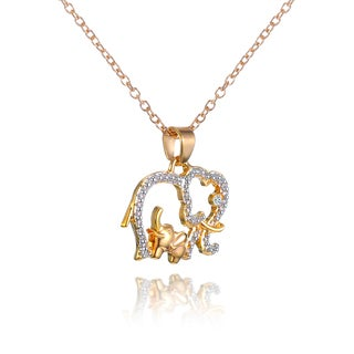 18k Goldplated Elephant with Baby Pendent Necklace