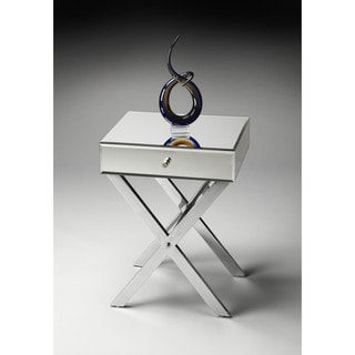 Butler Vincennes Stainless Steel and Wood Mirrored Side Table