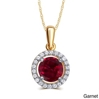 Divina Gold Over Silver Birthstone Halo Pendant Necklace (More options available)
