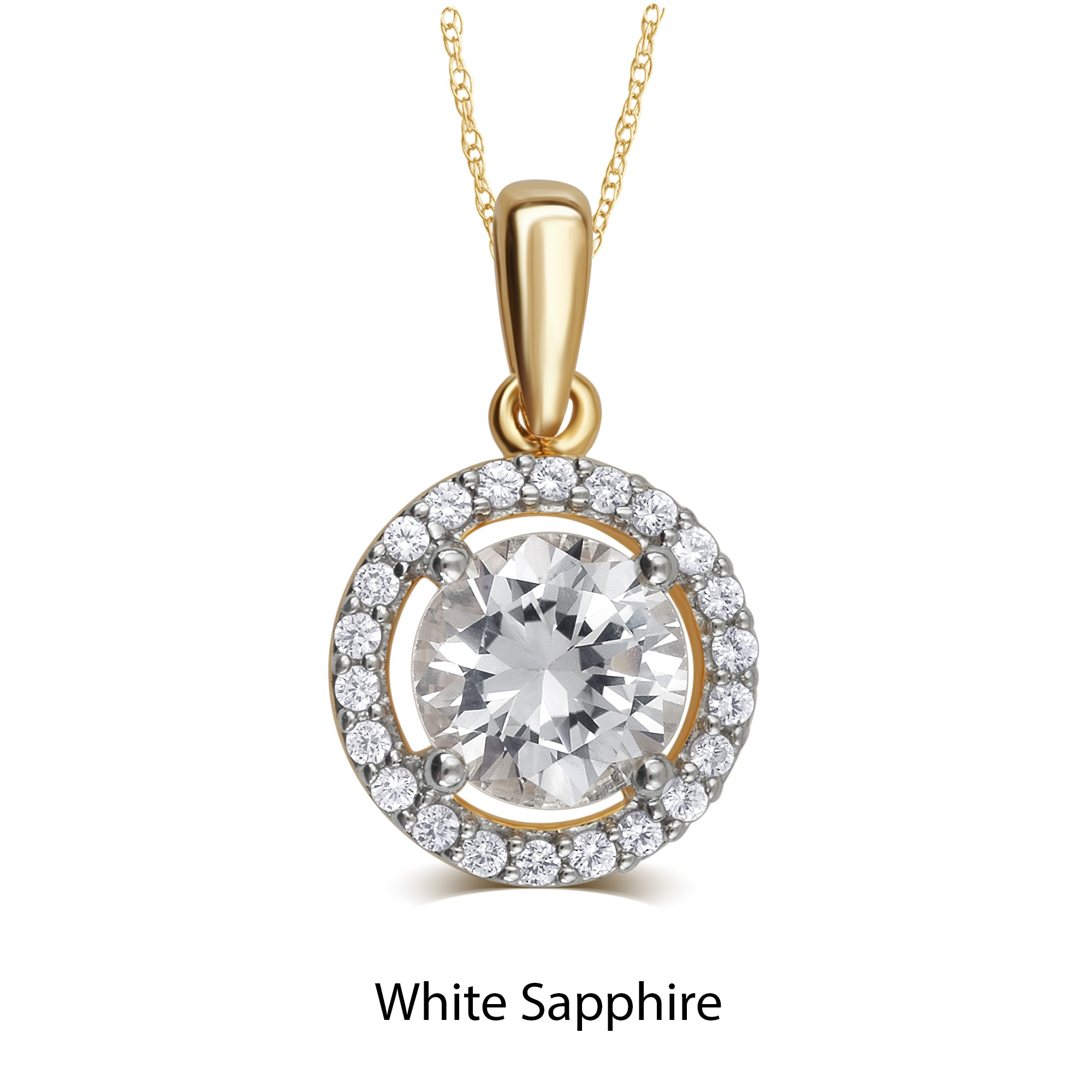 Divina Gold Over Silver Birthstone Halo Pendant Necklace ...