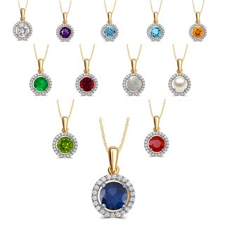 Divina Gold Over Silver Birthstone Halo Pendant Necklace