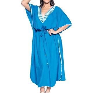 La Leela Women's Teal Likre 2-in-1 Nightgown Smooth Beach Kimono Evening Kaftan Maxi Dress