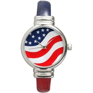 Olivia Pratt Women's Leather Strap Fourth Of July Band Watch