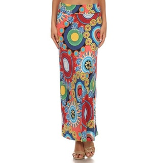 MOA Collection Women's Multicolored Polyester and Spandex Floral Medallion Maxi Skirt