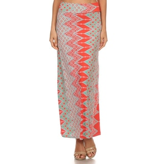 MOA Collection Women's Coral Ornate Maxi Skirt