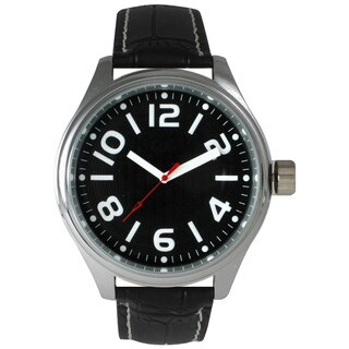 Olivia Pratt Men's Black Leather/Stainless-steel Watch