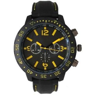 Olivia Pratt Men's Black Stainless-steel 3-dial Sport Watch (Option: Yellow)