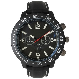 Olivia Pratt Men's Black Stainless-steel 3-dial Sport Watch