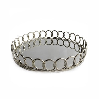 Allure by Jay Gold, Silver Metal, Glass Looped Mirror Tray