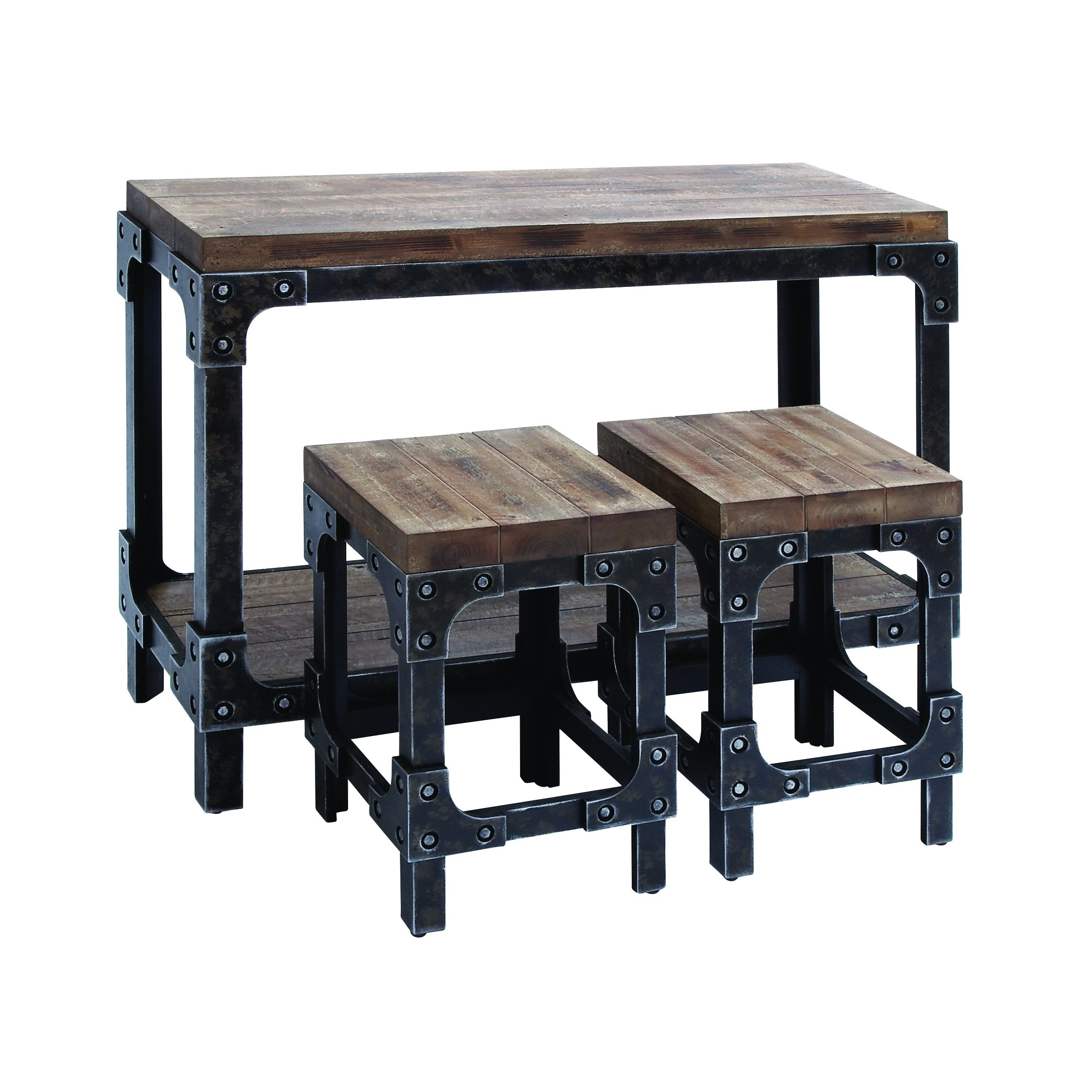 Walkover Black/Brown Wood/Metal Table and 2 Stools Set (S...