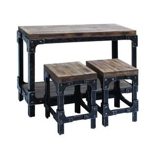 Black/Brown Wood/Metal Table and 2 Stools Set