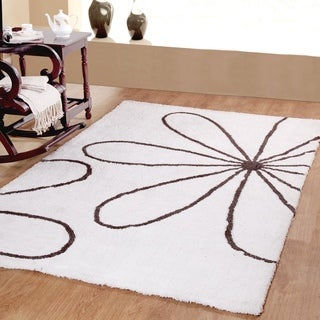 Affinity Home Collection Blossom Ultimate White/Grey Polypropylene Plush Shag Area Rugs (5' x 8')