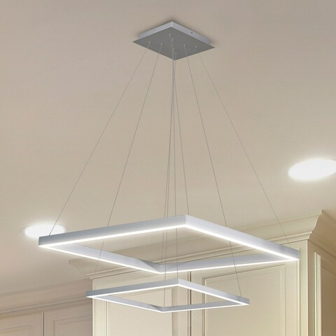 Vonn Lighting VMC31720AL Atria Duo 20-inch Integrated LED Chandelier in Silver