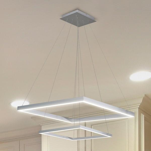 Vonn Lighting Atria Duo Silver Aluminum/Acrylic 20-inch LED Adjustable Suspension Fixture Modern 2-tier Square Chandelier