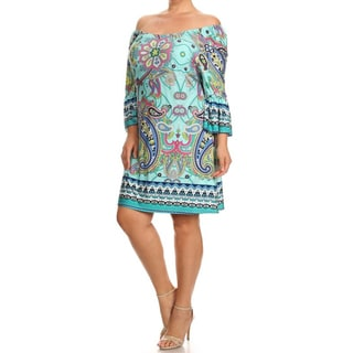 MOA Collection Women's Multicolored Polyester/Spandex Plus-size Sundress
