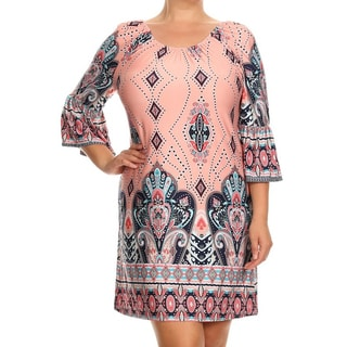 MOA Collection Women's Plus Size Multicolor Ornate Dress