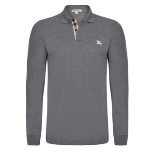 Burberry Men's Long Sleeve Grey Polo Shirt