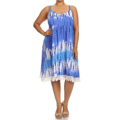 MOA Collection Women's Blue, Pink, Grey Polyester and Spandex Plus Size Tie Dye Sleeveless Dress