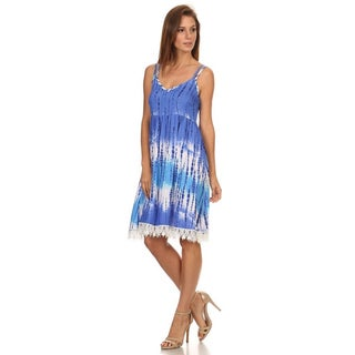 MOA Collection Women's Polyester and Spandex Tie Dye Sleeveless Short Dress