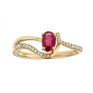 Anika and August 14k Yellow Gold Oval-cut Ruby and Diamond Ring