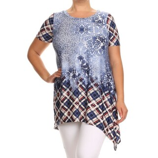 MOA Collection Women's Multicolor Polyester, Spandex Plus Size Short Sleeve Tunic Top