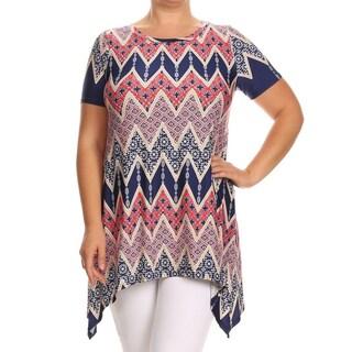 MOA Collection Women's Plus Size Chevron Ornate Top