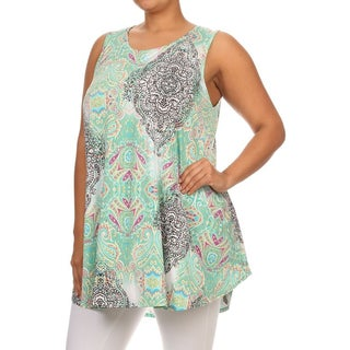 MOA Collection Women's Plus-size Ornate Tank Top