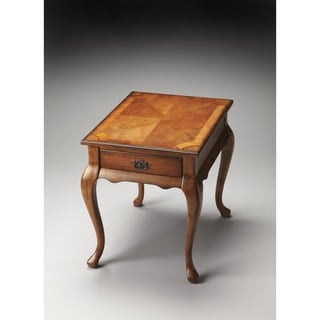 Butler Grace Brown Olive Ash Burl Veneer and Wood End Table