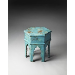 Handmade Tangiers Solid Blue Wood Bunching Table (India)