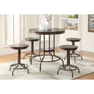 Burney Cherry Oak and Bronze Five-piece Counter-height Dining Set
