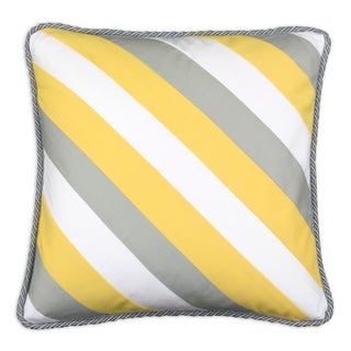 Crosswise Yellow/Grey/White 19-inch x 19-inch Corded Throw Pillow