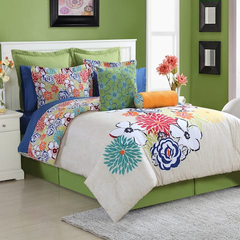 Lucia 4-piece Comforter Set with Bedskirt by Fiesta