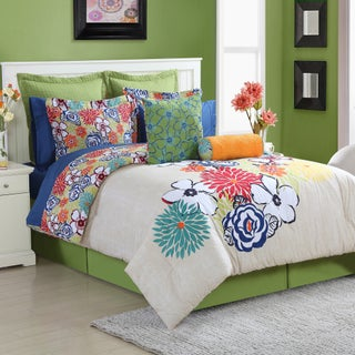 Lucia 4-piece Comforter Set with Bedskirt by Fiesta (3 options available)