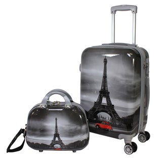 World Traveler Destination Collection Paris Grey Polycarbonate Two-piece Carry-on Hardside Spinner Luggage Set