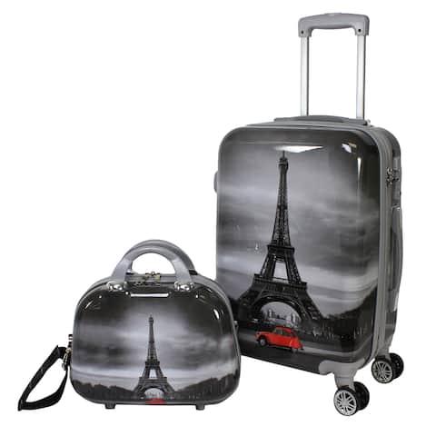 World Traveler Paris Two-piece Carry-on Hardside Spinner Luggage Set