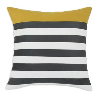 Charcoal and Classic Velvet White Stripe 19x19 KE Throw Pillow