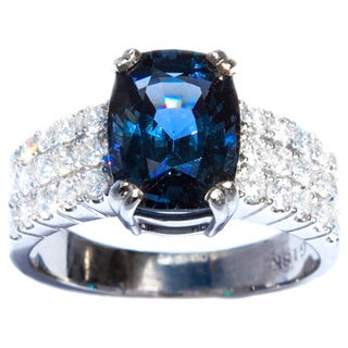 California Girl Jewelry 18k White Gold Blue Spinel and Diamond Ring