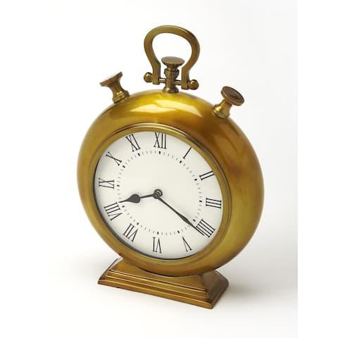 Butler Kenilworth Antique Brass Finish Desk Clock