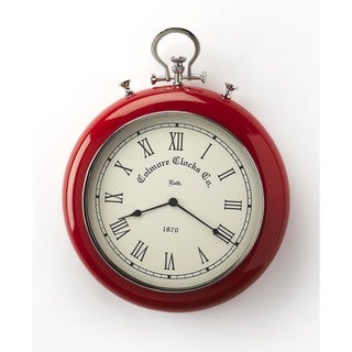 Butler Modern Round Scarlet Red and Nickel Finish Wall Clock - Red