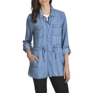 Ashley Women's Junior Denim Drawstring Waist Lightweight Jacket