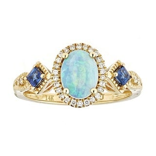 Anika and August 14k Gold Opal, Blue Sapphire, Diamond Ring