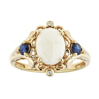 Anika and August 14k Yellow Gold Australian Opal Blue Sapphire and Diamond Oval-cut Ring